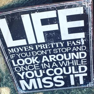 life moves pretty fast if you dont stop and look around once in a while you could miss it